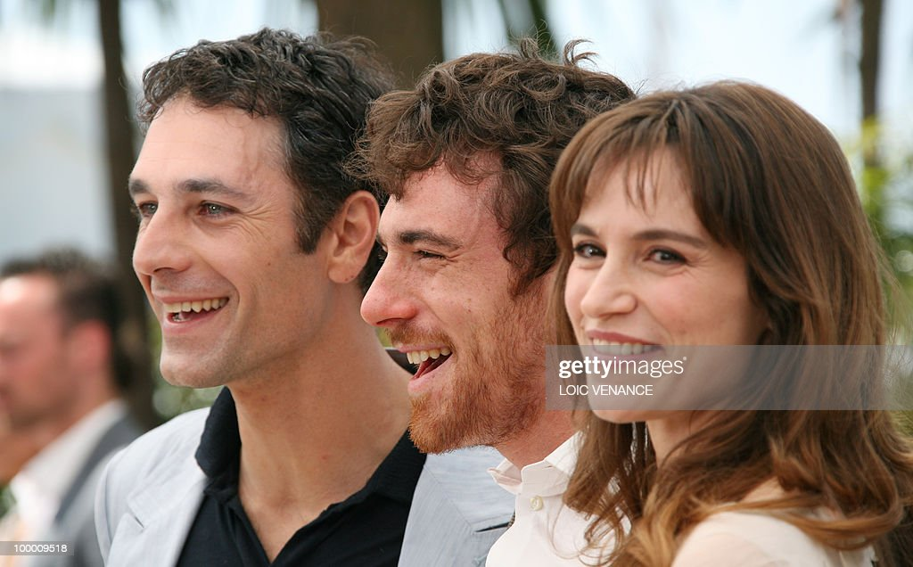 Italian actors Elio Germano (C), Stefani