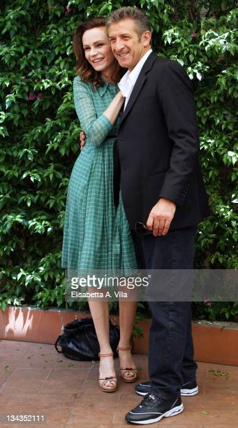 Italian actors Francesca Neri and Ezio Greggio pose for a photocall to promote the movie 'Il Papa Di Giovanna' at L'Antica Pesa Restaurant on June 4...