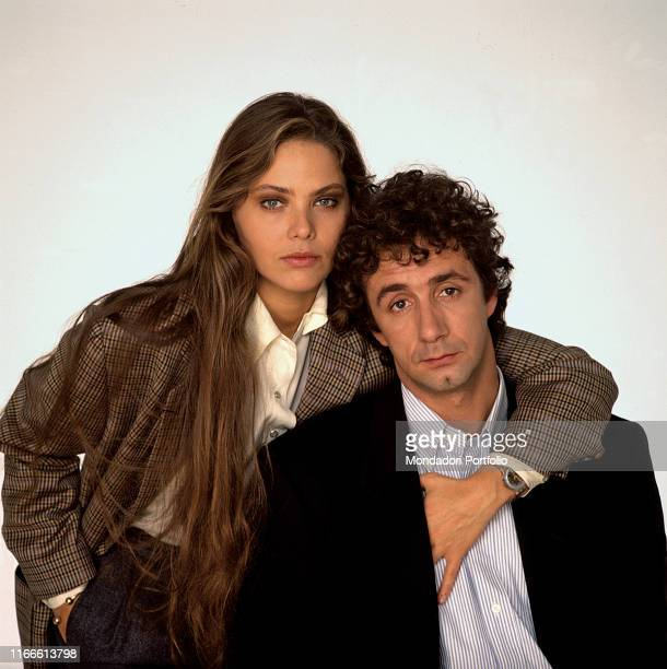 Italian actors Francesco Nuti and Ornella Muti posing for a photoshoot on occasion of the release of the film Stregati Italy 1986