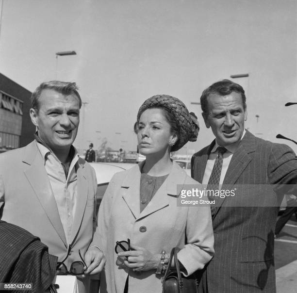 Italian actors Giorgio Albertazzi Anna Proclemer and Massimo Girotti arrive in London to perform 'Hamlet' at the Old Vic in occasion of the 400th...