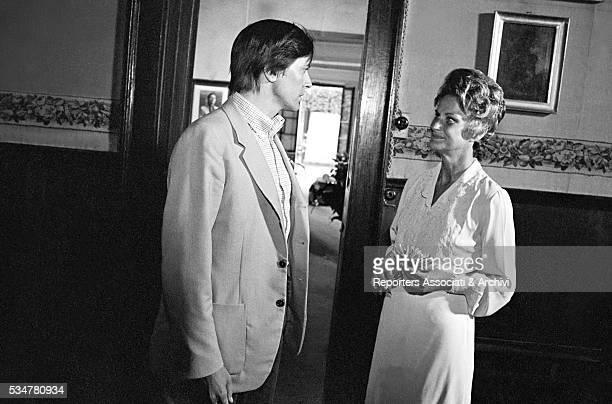 Italian actors Giulio Brogi and Alida Valli acting in The Spider's Stratagem Italy 1970