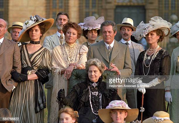 Italian actors Isabella Rossellini Marcello Mastroianni and Silvana Mangano on the set of the film Dark Eyes 1986