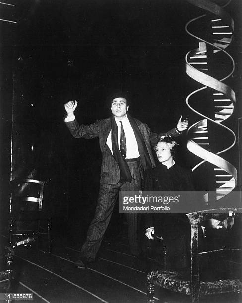 Italian actors Lilla Brignone and Gianni Santuccio performing Luigi Pirandello's drama 'Tonight we Improvise' directed by Giorgio Strehler at Piccolo...