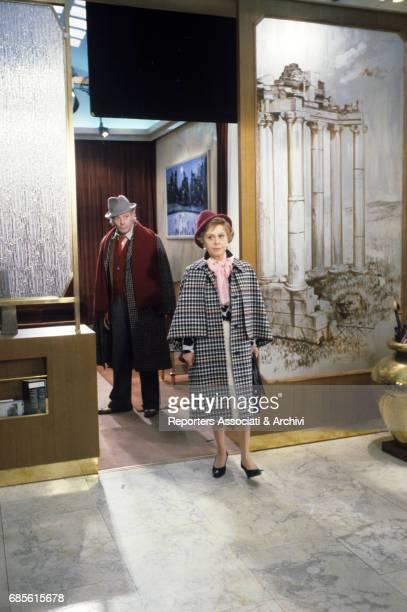 Italian actors Marcello Mastroianni and Giulietta Masina on the set of Ginger and Fred 1985