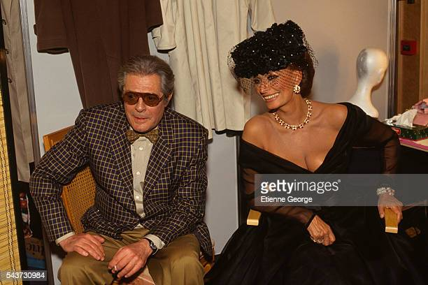 Italian actors Marcello Mastroianni and Sophia Loren on the set of the film Pret-a-Porter, , directed by American director Robert Altman.