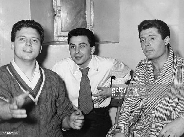 Italian actors Marcello Mastroianni Franco Interlenghi and Franco Pastorino relaxing The three actors play the theatrical drama Death of a Salesman...