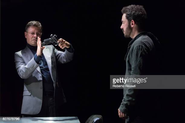 Italian actors Marco Quaglia and Stefano Patti perform 'Echoes' on stage during the annual Edinburgh Festival Fringe at Zoo Venues on August 6 2017...