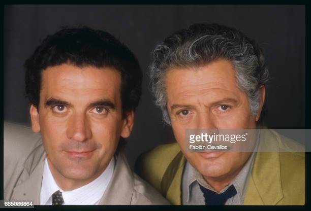 Italian actors Massimo Troisi and Marcello Mastroianni pose for a portrait during the filming of the movie Splendor directed by Italian director...
