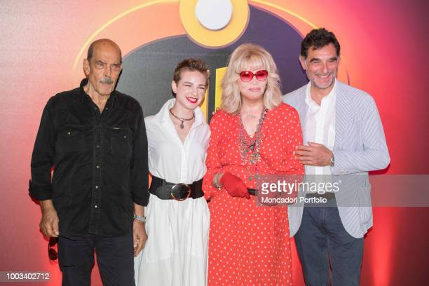 Italian actors Orso Maria Guerrini and Amanda Lear fencer Bebe Vio and journalist Tiberio Timperi attend the photocall for Incredibles 2 animated...