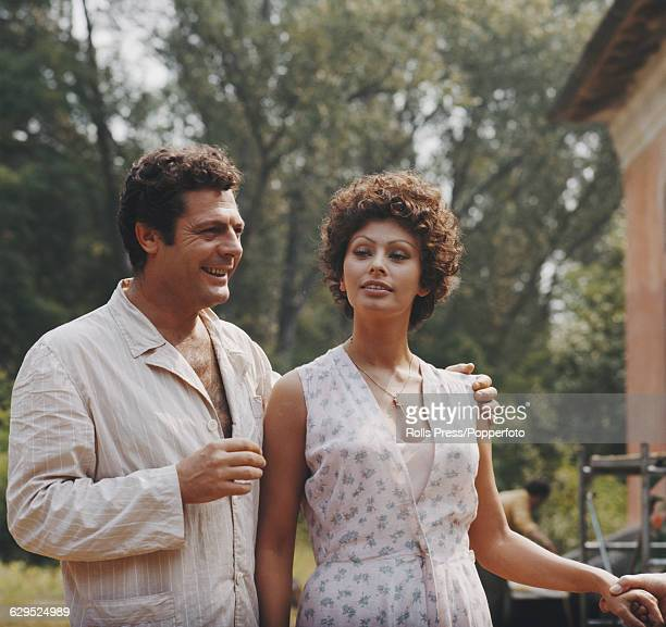 Italian actors Sophia Loren and Marcello Mastroianni pictured together on location during production of the film 'Sunflower' directed by Vittorio De...