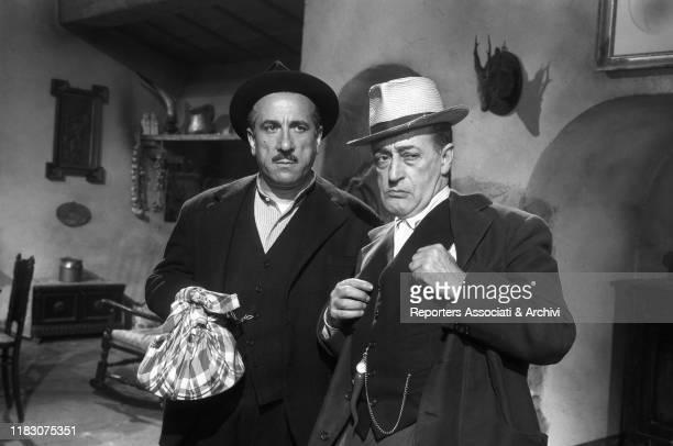 Italian actors Totò and Peppino De Filippo in the film Totò Peppino and the Hussy 1956