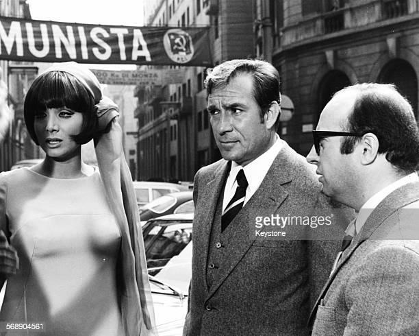 Italian actors Ugo Tognazzi and Maria Grazia Buccella filming a scene for the film 'Sissignore' Milan April 1968