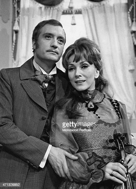 Italian actors Valentina Cortese and Nando Gazzolo acting in the TV miniseries I Buddenbrook February 1971