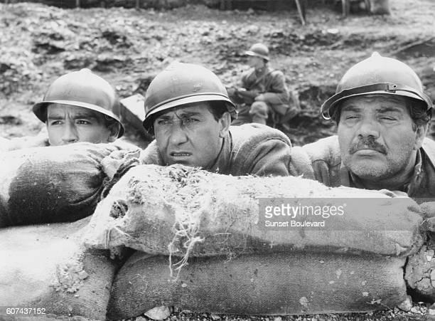 Italian actors Vittorio Gassman, Alberto Sordi and Folco Lulli on the set of La Grande Guerra, directed by Mario Monicelli.