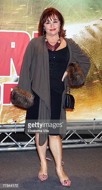 Italian actress Adriana Russo attends the Italian premiere of the movie 'Live Free Or Die Hard' at Auditorium Conciliazione October 15 2007 in Rome...