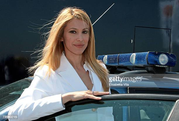 Italian actress Adriana Volpe attends the Italian TV series 'Polstrada'- Photocall at Autodromo Vallelunga on April 23, 2007 in Rome, Italy.
