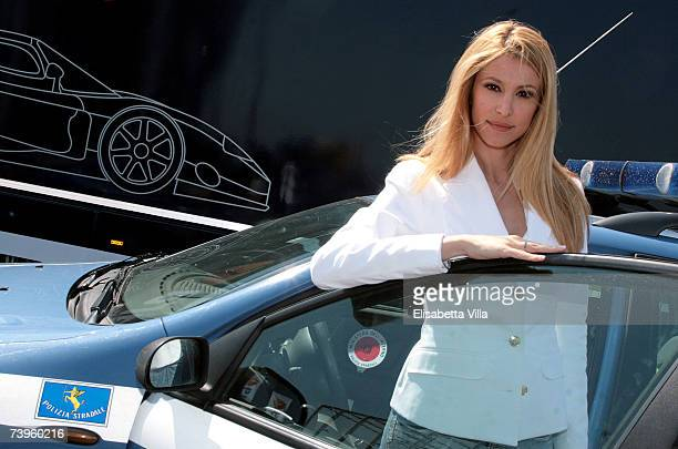 Italian actress Adriana Volpe attends the Italian TV series 'Polstrada' photocall at Autodromo Vallelunga on April 23, 2007 in Rome, Italy.