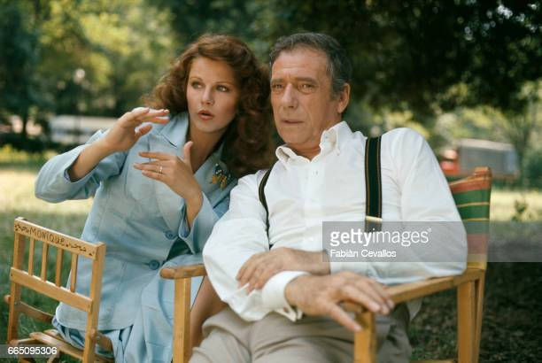 Italian actress Agostina Belli and Italianborn actor and singer Yves Montand on the set of the film 'Le Grand Escogriffe' directed by French director...