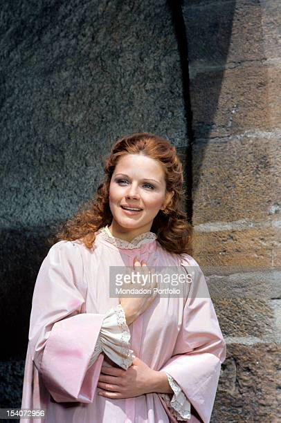 Italian actress Agostina Belli smiling and wearing a stage costume 1975