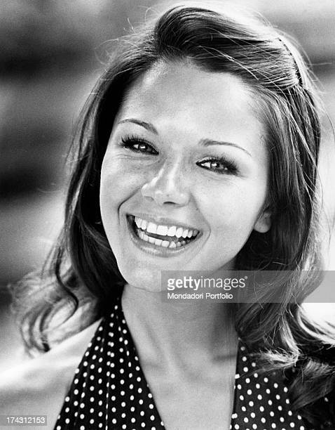 Italian actress Agostina Belli smiling Rome 1972