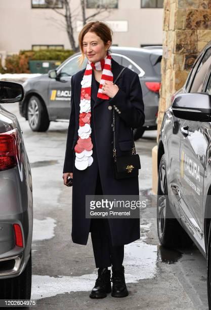 Italian Actress Alba Rohrwacher is seen leaving the Sheraton Hotel wearing Prada on January 28, 2020 in Park City, Utah.