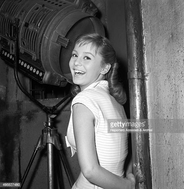 Italian actress Alessandra Panaro on the set of the film Poor But Beautiful during a break Behind her a spotlight Rome 1956