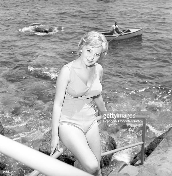 Italian actress Alessandra Panaro posing in swimsuit on the set of the film Avventura a Capri Capri 1958