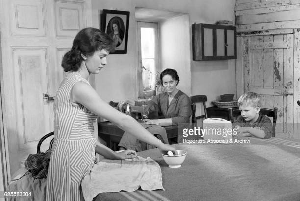 Italian actress Alida Valli and Italian actress Federica Ranchi in a scene from the film 'The Wide Blue Road' directed by Gillo Pontecorvo Italy 1957