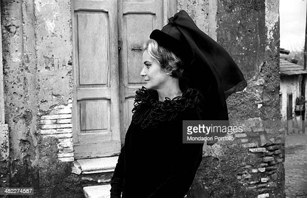 Italian actress Alida Valli dressed in mourning playing a widower in the film Umorismo in nero Italy 1964