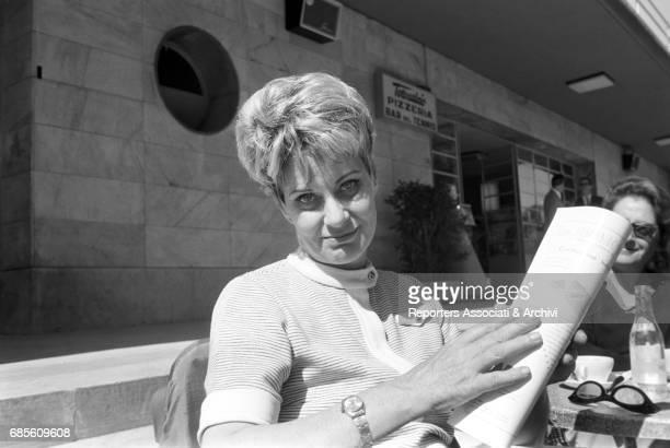 Italian actress Alida Valli drinking coffee sitting at CafŠ Tennis at Foro Italico Rome 8th May 1968