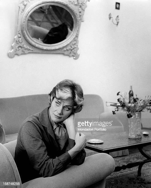 Italian actress Alida Valli sitting in an armchair Rome 24th November 1961