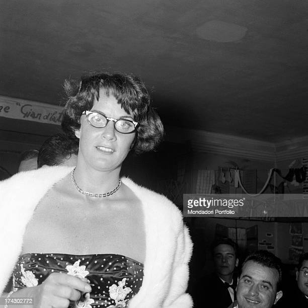 Italian actress Alida Valli smiling at the restaurant on the occasion of Grolla d'Oro Prize 1955 SaintVincent July 1955