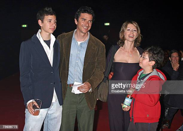 Italian actress Amanda Sandrelli with husband Blas RocaRey and their sons attend the 'Tutto Dante' performance by Roberto Benigni at Teatro Tenda on...