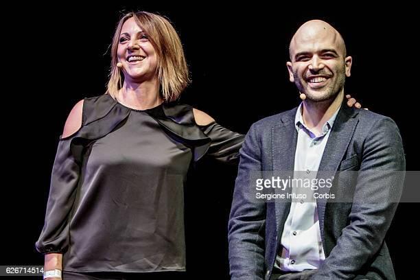 Italian actress and comic Debora Villa presents the show 'Sottosopra' Roberto Saviano Meets The Audience on November 28 2016 in Milan Italy