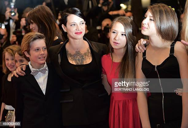 Italian actress and director Asia Argento arrives Italian actor Andrea Pittorino a member of the cast and Italian actress Anna Lou Castoldi for the...