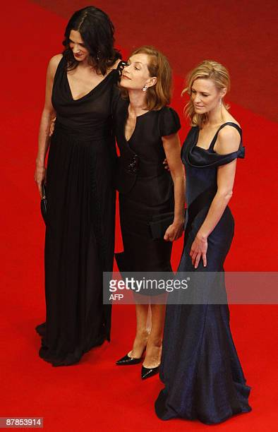 Italian actress and director Asia Argento French actress and president of the jury Isabelle Huppert and USA's actress Robin Wright Penn arrive for...