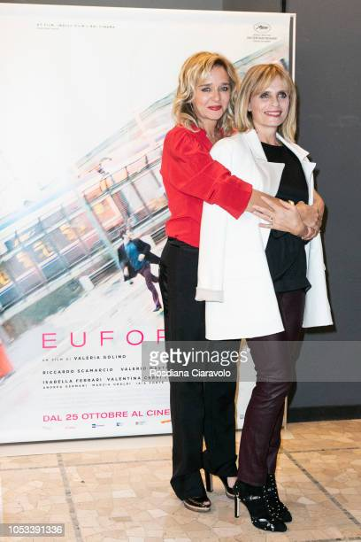 Italian actress and director Valeria Golino and actress Isabella Ferrari attend Euforia photocall on October 25 2018 in Milan Italy