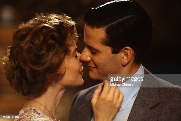 Italian actress and model Isabella Rossellini and American actor Campbell Scott on the set of The Innocent by British director screenwriter actor and...