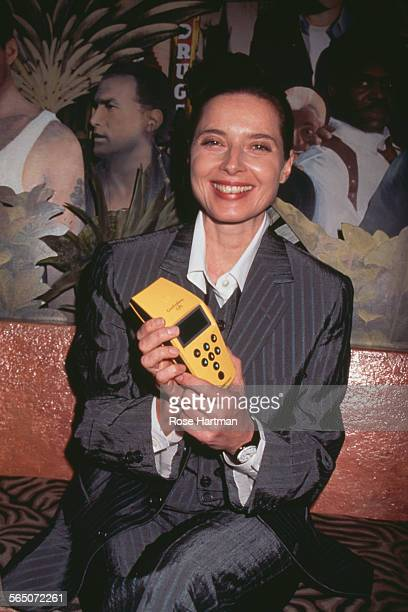 Italian actress and model Isabella Rossellini holds a gorilla tracking device at a fundraising event for the Dian Fossey Gorilla Fund Planet...