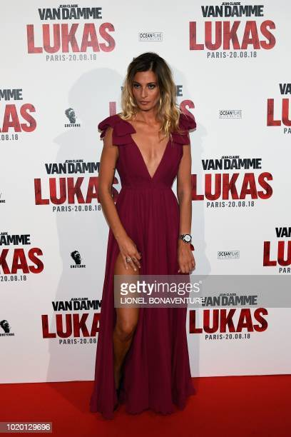 Italian actress and model Sveva Alviti poses upon arrival to attend the premiere of the film The Bouncer on August 20 in Paris.