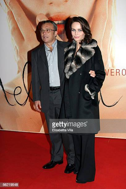 Italian actress and producer Francesca Neri and her husband actor Claudio Amendola attend the Italian premiere for new film Melissa P at the Cinema...
