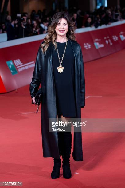 Italian actress and show girl Alba Parietti attends the Red Carpet during the 13th Rome Film Fest at Auditorium Parco Della Musica on 22 October 2018