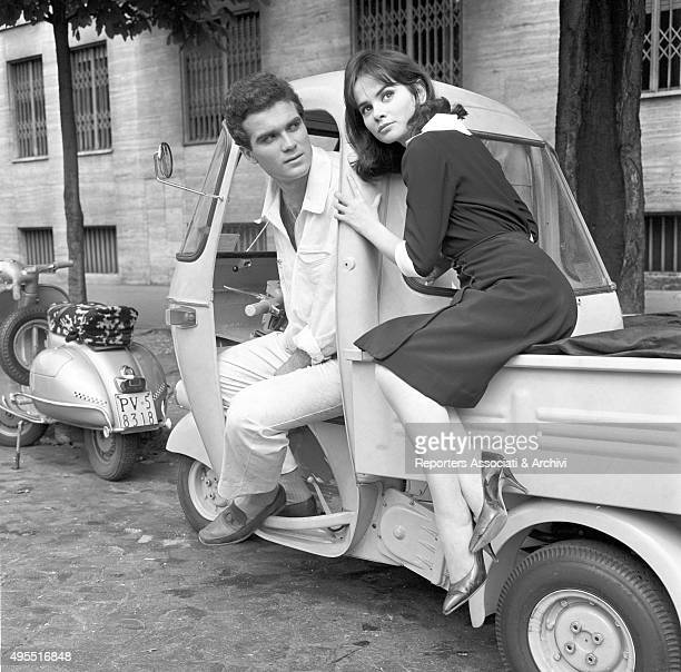 Italian actress and singer Marisa Solinas and Italian actor Germano Gilioli sitting on a Piaggio Ape in the episode Renzo e Luciana from the film...