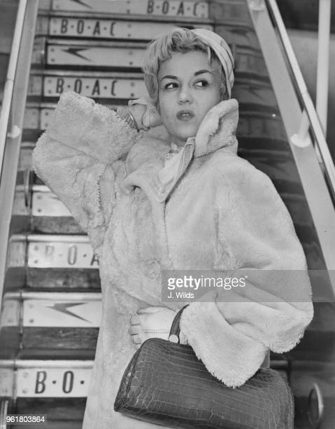 Italian actress and singer Rosalina Neri arrives at London Airport from New York 21st February 1958