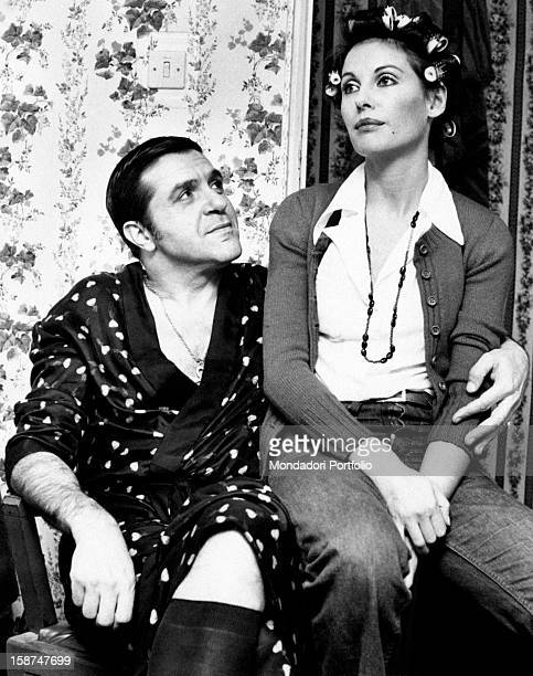 Italian actress and TV presenter Gabriella Farinon sitting next to Italian actor and comedian Aldo Giuffré Rome 1970s