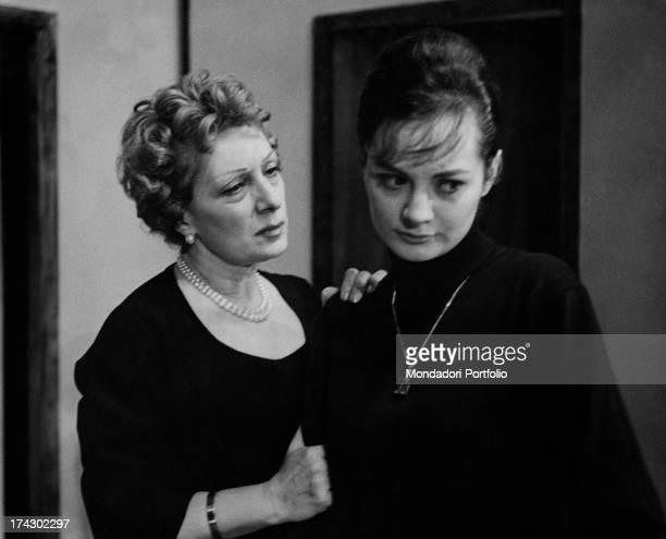 Italian actress Andreina Pagnani comforting Italian actress Giuliana Lojodice in the comedy Quaderno proibito Rome December 1961