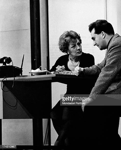 Italian actress Andreina Pagnani talking with Italian actress Giuliana Lojodice iin the theatrical drama Quaderno proibito Rome December 1961