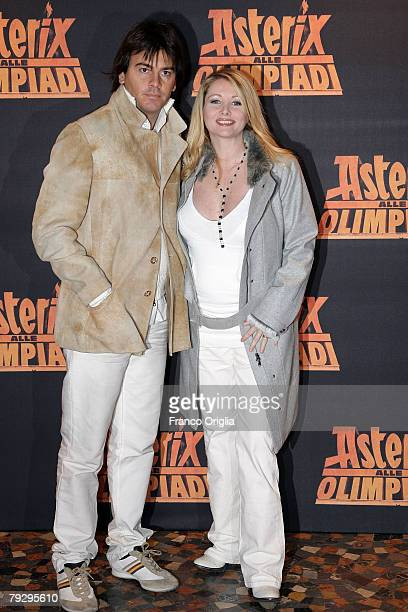 Italian actress Angela Melillo and her husband attend the 'Asterix at the Olympic Games' Italian premiere at the Warner Village Moderno Cinema...