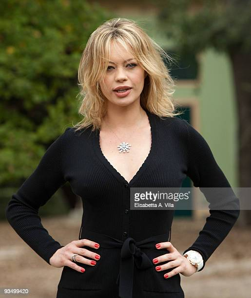 Italian actress Anna Falchi attends 'L'Uomo Nero' photocall at Villa Borghese on November 30 2009 in Rome Italy