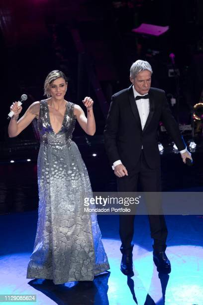 Italian actress Anna Foglietta and Italian singer and host Claudio Baglioni during the fifth and last evening of the 69th Sanremo Music Festival...
